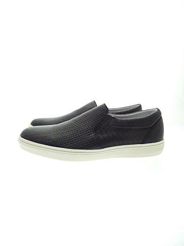 FRAU 28N3 nero scarpe uomo slip-on elastico stampa intreccio 40