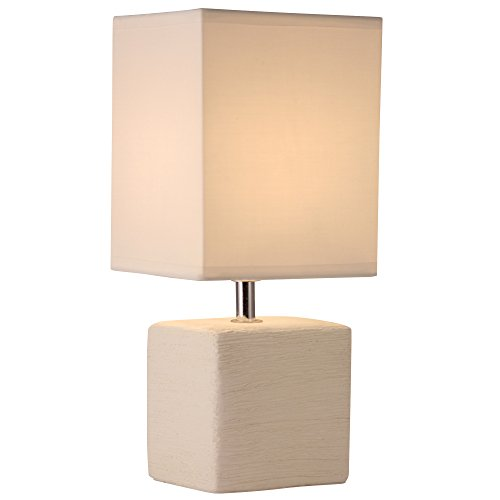 Light Accents Table Lamp Side Table Lamp with Square Fabric Shade Off White Finish (Side Tables With Lamps compare prices)