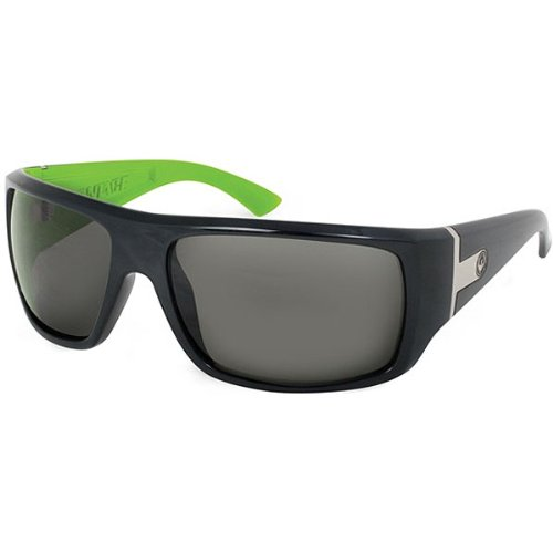 Dragon Sunglasses Vantage Medium Fit Eyewear - Dragon Alliance Men's Sports Shades - Color: Jet Lime/Grey, Size: One Size Fits All