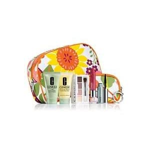 CLINIQUE NEW! FALL 2011 GIFT SET WITH 7 DAILY ESSENTIALS : DRAMATICALLY MOISTURIZING LOTION + 7 DAY SCRUB CREAM RINSE OFF+ COLOUR SURGE EYE SHADOW QUAD+CHUBBY STICK MOISTURIZING LIP COLOUR BALM + LASH DOUBLING MASCARA BLACK + DESIGNER BAGS(2)