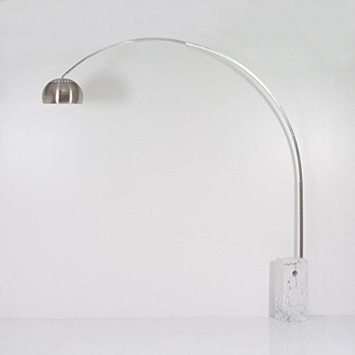 Lampada Arco da Terra Piantana Stelo Rettangolare Vero Marmo Bianco