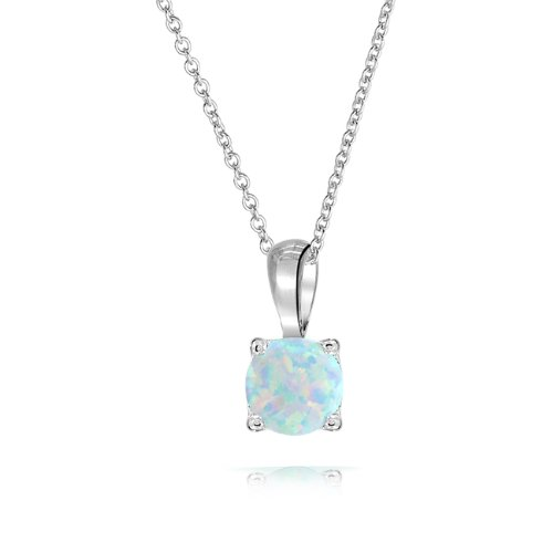 Bling Jewelry Round White Opal Stone Solitaire Pendant 925 Silver Necklace 16in