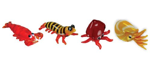 Looking Glass Miniature Collectible - Lobster / Prawn / Squid / Nautilus (4-Pack)