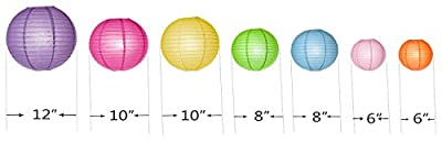 Round Chinese Paper Lanterns Assorted Colors Sizes--Birthday/Wedding/Ceiling Party Supplies Hanging Decoration