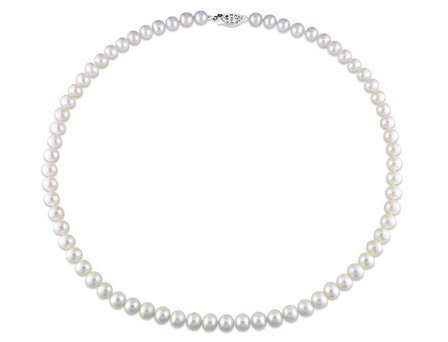 Sterling Silver Freshwater White Pearls Necklace (18 in) (6.5-7mm)