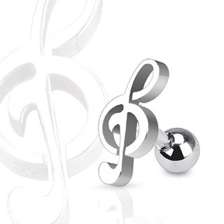 Treble Clef Music Note Tragus/Cartilage Piercing Stud Ion Plated Over 316L Surgical Steel