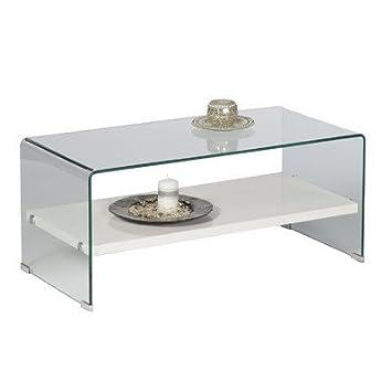 Alfa-Tische M1784 Couchtisch Casio, 100 x 50 cm, geformtes Glas mit Ablageboden