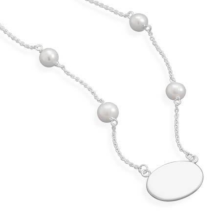 16 Inch Necklace with White Cultured Freshwater Pearls and Oval ID Tag