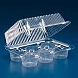 Oasis Supply PJP LBH-6656-12 6-Compartment Cupcake Container with Hinged Lid, Clear