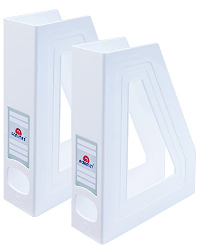 Acrimet Magazine File Holder (White Color) (2 - Pack)