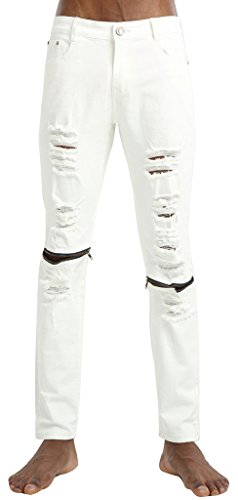 Pizoff Fashion Ripped Skinny Biker Jeans Destroyed Frayed Slim Fit Denim Pants Y1751-01-36