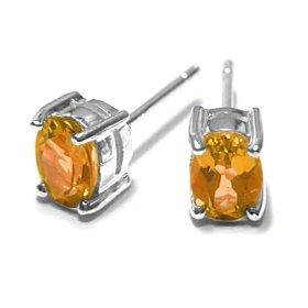 Sterling Silver 1.60CT Oval Citrine Earrings
