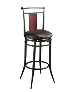 Hillsdale Midtown 30-Inch Swivel Bar Stool, Black finish with Dark Cherry Accented Back and Black Vinyl Upholstry