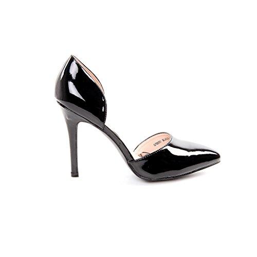 Donna High Heels décolleté Stilettos scarpe vernice lucido cut-outs, nero (nero), 40 EU