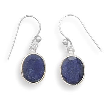 Oval Faceted Rough-Cut Sapphire Earrings