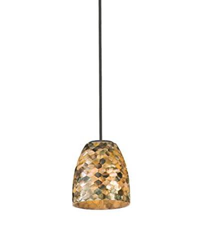 Varaluz Naturals 1-Light Mini Pendant, Matte Black/Black Mother Of Pearl