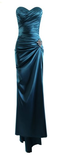 Fiesta Formals Strapless Long Satin Bandage Gown Bridesmaid Dress Prom Formal Crystal Pin - Teal - L
