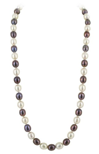 Silver on Copper White & Brownish Oval Shape Freshwater Cultured Pearl 18 inch Necklace Lobster Clasp