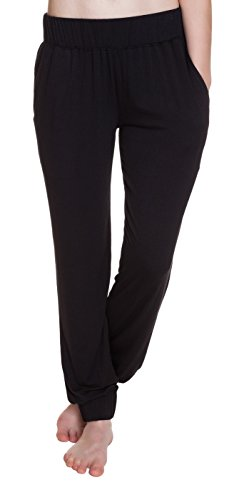 Steve Madden Solid Microfiber Sleep Jet Black Pants - Small