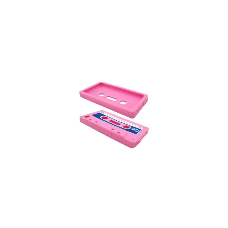 Pink Cassette Tape Design Soft Silicone Skin Gel Cover Case for Apple Ipod Touch 4 Itouch 4 + Lcd Screen Guard + Microfiber Pouch Bag