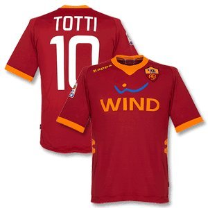 11-12 AS Roma Home Jersey + Totti 10