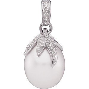 Genuine IceCarats Designer Jewelry Gift 18K Palladium White Gold South Sea Cultured Pearl And Diamond Pendant