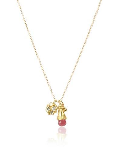 Diane Yang Ruby Quartz Pave Charm Necklace