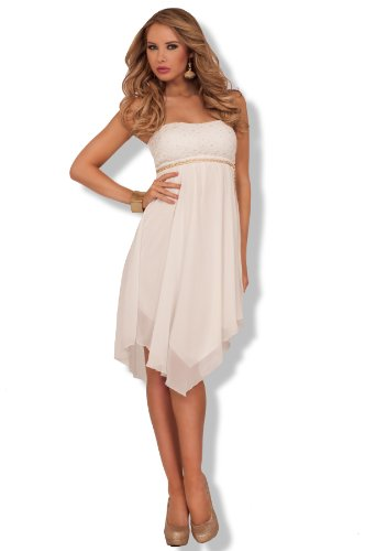 Sexy Lace Flirty High Low Gold Chain Belt Formal Cute Cocktail Dress