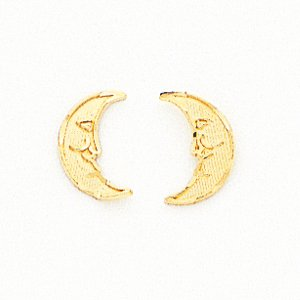 14k Polished Moon Post Childrens Earrings - JewelryWeb