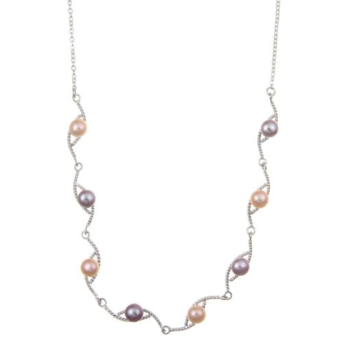 Sterling Silver Multi-color Freshwater Pearl Necklace (5-5.5 mm)