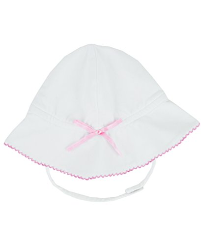 RuffleButts® Infant / Toddler Girls White Knit Bucket Bow Hat w/ Strap - White - 6-12m