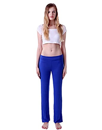 HDE Women's Slimming Fold Over Rolled Waist Bootleg Flare Yoga Pants (Blue, Small)