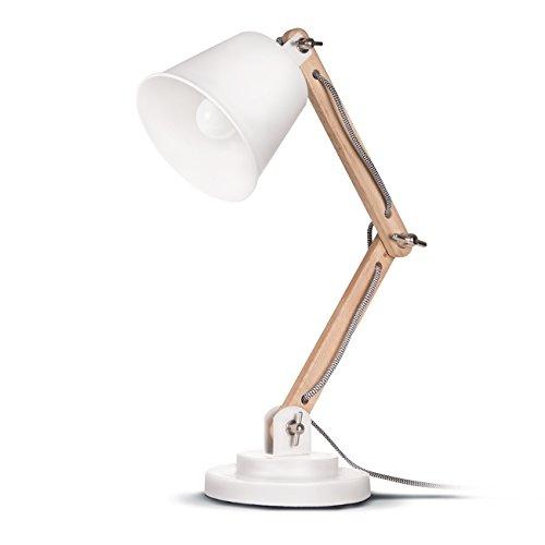 Tomons-schwenkbare-Schreibtischlampe-Leselampe-Retro-Design-fr-Schreibtisch-und-Nachttisch-inkl-E27-LED-Leuchtmittel-Wei