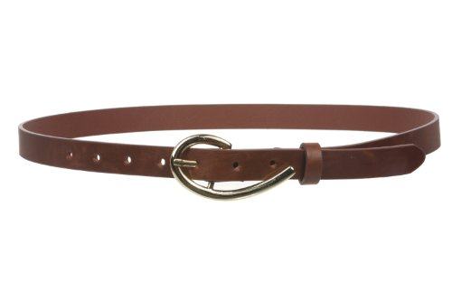 "3/4 Inch (19mm) Skinny Faux Leather Fashion Belt Size: One-Size: 30"" - 34"" Color: Brown"