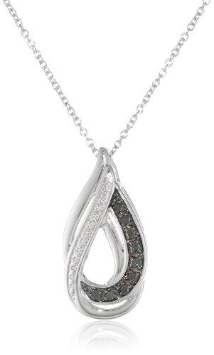 """Sterling Silver 1/10cttw Black Diamond Drop Pendant Necklace, 18"""""""
