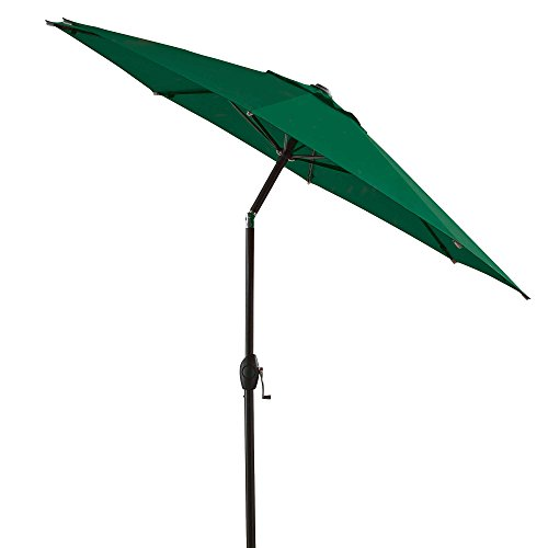 7 Foot Round Fabric Heavy Duty Bistro Outdoor Aluminum Patio Umbrella, Green