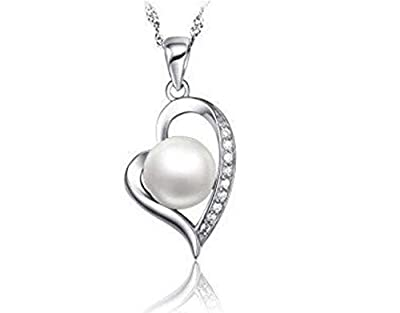 findout sterling silver Natural freshwater pearl flash diamond hearts pendant necklace (f1428)