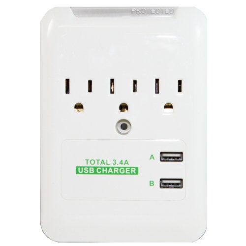 Rnd 3.4 Amp Fast Charging Station With 3 Ac Outlets And 2 Usb Ports
