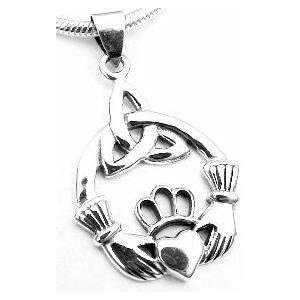 claddaugh celtic knot claddagh sterling silver pendant