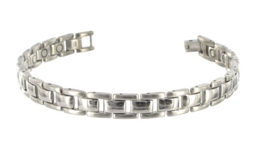9 MM Wide Titanium Magnetic Link Bracelet 8.5″ Long with Fold over Clasp