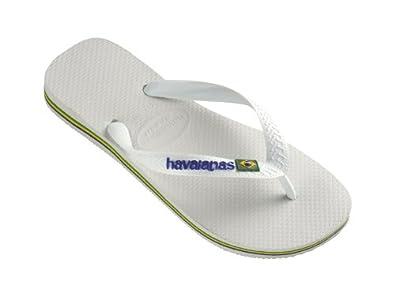 BRAND NEW HAVAIANAS WOMEN'S Brasil Logo Flip Flops Sandals WHITE UK 3-8 (UK 8 / EU 41/42, White)