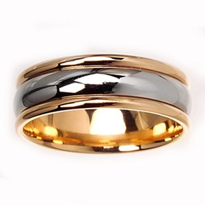 Men's 14k Two-Tone Gold Domed Comfort-Fit Wedding Band (7.00 mm)
