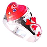 Silver and Red Millefiori Heart Shaped Ring. UK Size O. Beautifully presented in a red gift box and organza bag.by Millefiori by Kooqi
