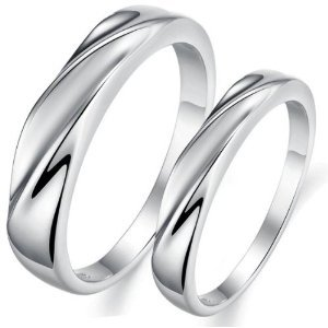 OPK South Korea Style Simple Platinum Plated Wedding Band Anniversary/Engagement/Promise/Couple Ring Best Gift!