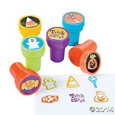 Halloween Trick or Treat Stampers with Glow in the Dark Fangs 12 Pack (12 Stampers and 12 Fangs)