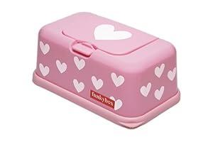 Funky Box FB06 Funkybox - Cajita para toallitas húmedas, color rosa diseño corazones - Bebe Hogar