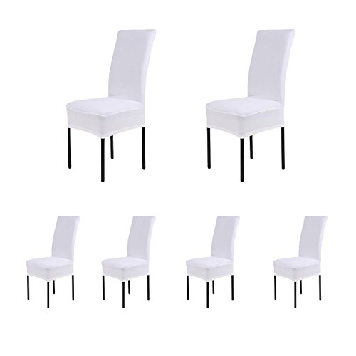 6 x Removable Short Stretch Spandex Dining Chair Slipcovers Protector, Super Fit Banquet Chair Seat Cover for Hotel and Wedding Ceremony, Washable (White)