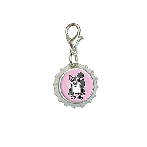 Sugar Glider on Pink Bracelet Pendant Zipper Pull Bottlecap Charm with Lobster Clasp