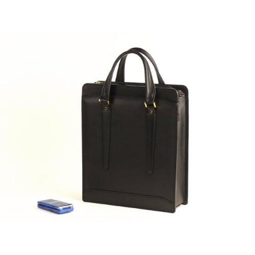 【日本製】 本革ロングブリーフ<型押し革>(黒) 縦型ニ本手ブリーフ A4ファイル収納