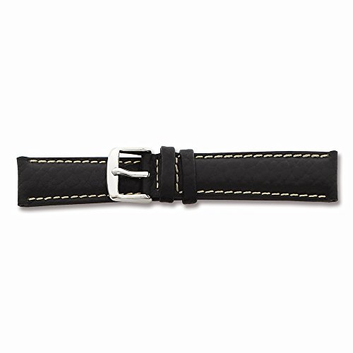 22Mm Black Lthr White Stitch Silver-Tone Buckle Watch Band